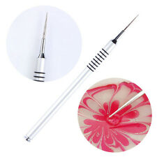 New Nail Art Drawing Painting Pen Water Marble Silver Handle Manicure DIY Tool