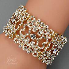 18K Gold Plated Clear Crystal Rhinestone Wedding Bangle Cuff Stretch Bracelet 37