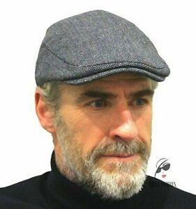 Men's Flat Cap Grey Herringbone Tweed Wool CHEAP Clearance Sale Free UK Post