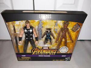 Marvel Legends Avengers Infinity Wars 3-Pack Thor Rocket Raccoon Groot NEW RARE