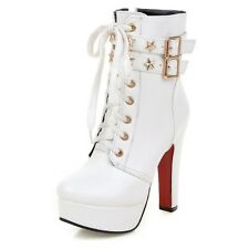 Lace Up Boots Sexy Booties Buckle Rock shoes womens Party High Heels Size 0-11