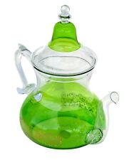 Tea Kettle Coffee Pot Glass Moroccan Handmade Heat Resistant Leaf Strainer Green