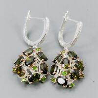 Tourmaline Earrings Silver 925 Sterling Handmade6x4mm  /E38119