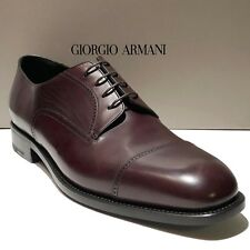 ARMANI Brown Leather 13 46 Men's Captoe Formal Dress Derby Shoes Casual Oxford
