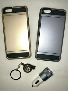 iPhone 6/s Accessories Wallet Cases Silver+Gold, Dual Port Car Charger, Keychain