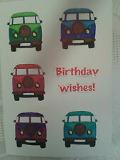 HANDCRAFTED BIRTHDAY CARD CAMPER VANS VW HAPPY BIRTHDAY