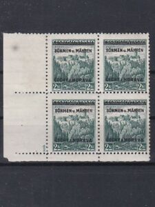 1939 PLATTENFEHLER 8öhmen statt Böhmen 4er Block mit Plattennummer Postfrisch **
