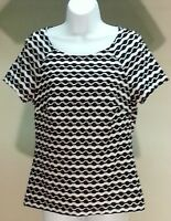 New Eci New York Women's Black White Geometric Short Sleeve Top Blouse Size: S