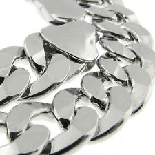 "MADE IN ITALY Curb Link 250 10MM 20"" SOLID FINE 925 STERLING SILVER CHAIN HEAVY!"