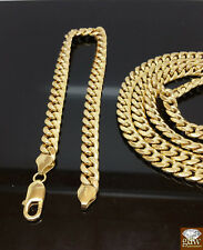 10k Real Gold Miami Cuban Chain 22 Inches, & Bracelet 8 Inches 7mm,Lobster lock
