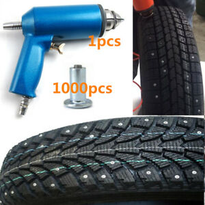 1x Pneumatic Air Pressure Gun Tool + 1000x 8mm Car Snow Tire Screw Stud Ice Nail