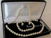 18 Inch Set AAAA+ Genuine Freshwater 8-9mm White Pearl Necklace Bracelet Earring