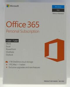 NEW MICROSOFT OFFICE 365 PERSONAL 1TB ONEDRIVE 1 USER 1YR WORD EXCEL POWERPOINT