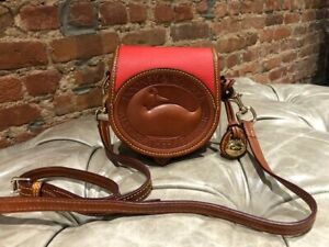 Authentic Dooney & Bourke Large Duck Red/ Brown  Leather Crossbody Shoulder Bag