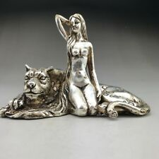 CHINESE Old TIBETAN SILVER COPPER HANDMADE BEAUTY WOMAN AND LEOPARDS STATUE YT21