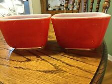 Vintage Pyrex Red Primary Colors Bowl Refrigerator Dishes # 501- B Set of 2
