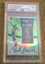 CLYDE DREXLER 2018 PANINI SELECT NEON GREEN PRIZM 15/35 PSA MINT 9 AUTO POP 1!!!