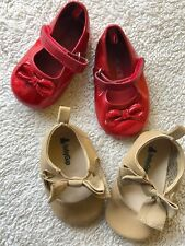 Baby Infant Girls Ballet Dress Shoes Khaki/Tan/Brown & Red Sparkle Dorothy Ruby