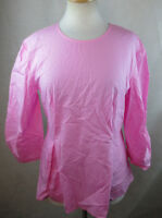 NWT MOSSIMO WOMENS LARGE L BLOUSE SHIRT PEPLUM TOP 100% COTTON SOLID LIGHT PINK
