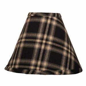 Lamp Shade 10 inch Richman Plaid Black Cream Gra Primitive Decor Ring Clip Style