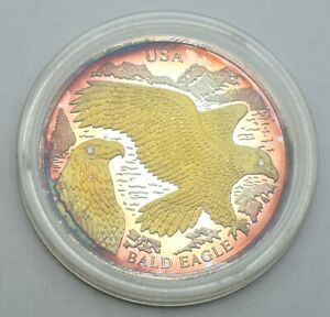 LIBERIA 10 DOLLARS 2004 USA BALD EAGLE DIAMOND EYES 999 SILVER & GOLD PROOF