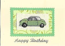 Nissan Figaro car cross stitched birthday card