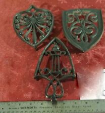 Lot 3 Vintage Old Marked Cast Iron Trivets Footed for Sad Iron Hot Plate Black