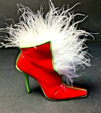 Just the Right Shoe Mrs. Claus 2002 Red with Green Trim Ostrich Feathers
