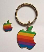 Vintage Apple Macintosh Rainbow Multi-Color Computer Logo Key Chain & Lapel Pin