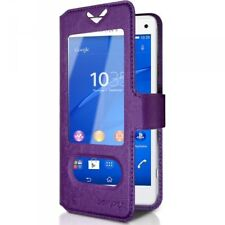 Housse Coque Etui S-view Universel S Couleur Violet pour Sony Xperia Z3 Compact