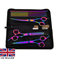 Pet Hair Scissors Set Dog Grooming Cutting Thinning Curved Shears Comb Set 7''
