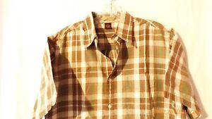 R & R Outdoors Medium Brown & Green Plaid Short Sleeve Button Up