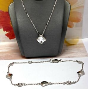 2pc 925 Sterling Silver Diamonique Diamond Solitaire Necklace & Heart Bracelet