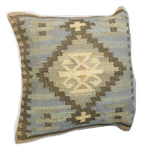 "Cushion Cover Kilim Diamond 20x20"" Wool Jute Persian Moroccan Handmade Boho"