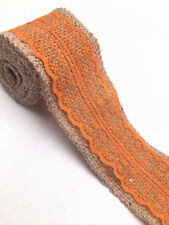 2M Lace Burlap Ribbon Natural Jute Hessian Wedding Party width 6cm Orange