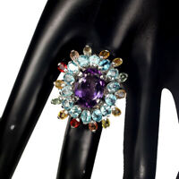 Oval 14x10mm Purple Amethyst Blue Zircon Sapphire 925 Sterling Silver Ring 7.5