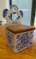 Gmundner Keramik Pottery Blue & White Salz Box Wooden Lid  Handmade Austria