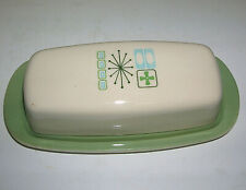 Taylor-Smith Taylorstone Cathay Atomic Starburst Green Covered Butter Dish