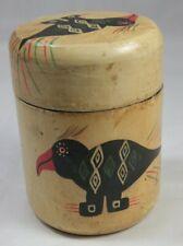 Wooden Pot Painted with Bird Patina Native American Looking Folk Art