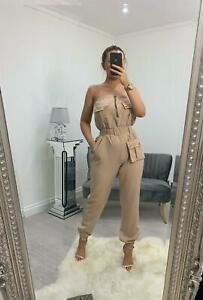 Womens Ladies Jumpsuit Overall Playsuit Long Tie Up Belt Pockets Casual Wear New