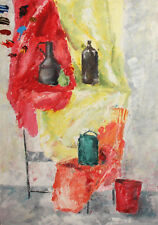 EXPRESSIONIST STILL LIFE WITH BUCKETS AND BOTTLES OIL PAINTING