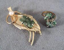 Vintage Green Jade & Pearl Ring & Leaf Brooch Set Unsigned -Estate Find