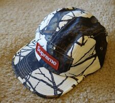 Supreme White 5 Panel Cap With  With Tree Camo Pattern