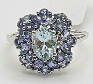 Tanzanite & Aquamarine Ring 1.89ctw Sterling Silver 925 Sz 8