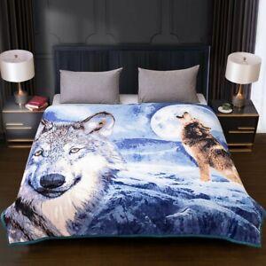 3D Design Blue Wolf Faux Fur Fleece Sofa Bed Warm Throw Mink Double King