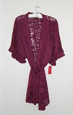 NWT Designer Josie Natori Women's Wine Purple Lace Short SS Wrap Robe Sz L