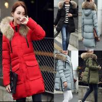 Womens Warm Quilted Jacket Faux Fur Hooded Parka Outerwear Long Coatwear Winter