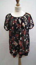 Black Floral Sheer Blouse from Evie size 8
