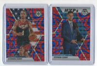 2 card lot 2019/20 Mosaic MVP & Team Usa Reactive Blue Prizm Stephen Curry WOW
