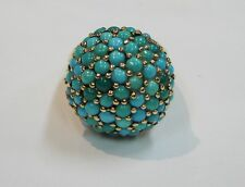 14K YELLOW GOLD RING WITH ROUND TURQUOISE STONES SIZE 7 1/4 N534-L